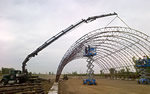 Thumbnail image of lifting metal rafter sections